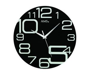 40 cm AMS 9461 Wanduhr Quarz analog schwarz rund modern Ø ca