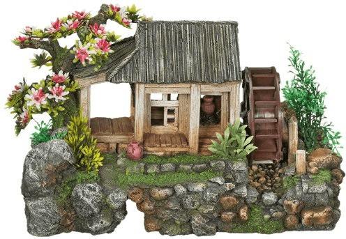 Nobby Aqua Ornaments Haus mit Wasserrad mit Pfl...