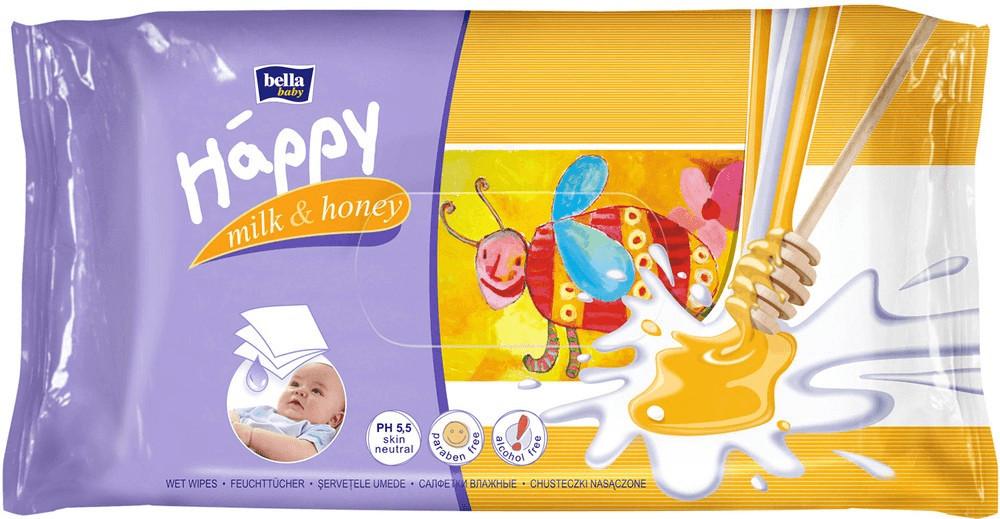 Bella Baby Happy Feuchttücher mit Milch & Honig 64 Stück