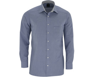 weiß 3390 64 19 Olymp Herren Hemd Modern Fit Check dunkelblau