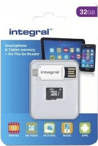 Image of Integral Smartphone and Tablet microSDHC Class 10 UHS-I U1 - 32GB (INMSDH32G10-SPTOTGR)