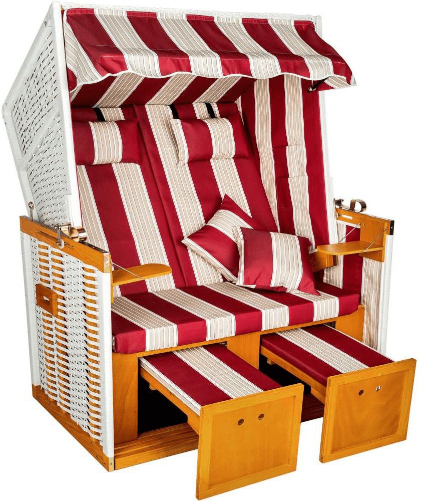 TecTake Strandkorb mit Polster rot-weiß