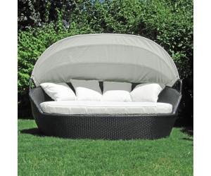 Jom polyrattan chill out sofa mit baldach schwarz beige - Chill out sofas ...