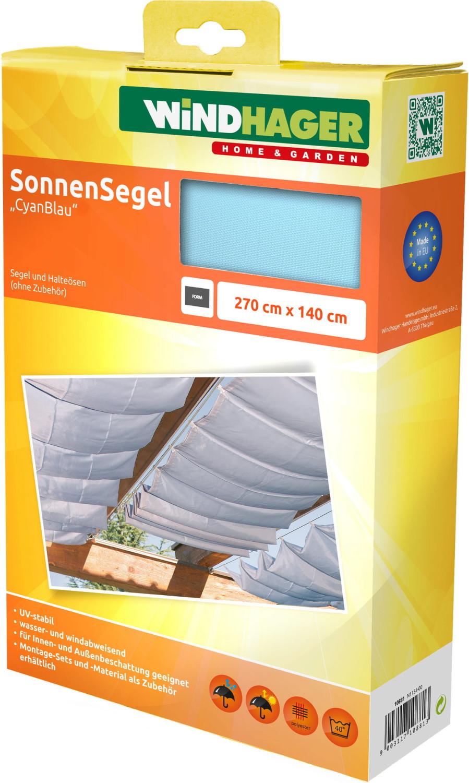 Windhager Sonnenschutz-Segel 270 x 140 cm cyanblau