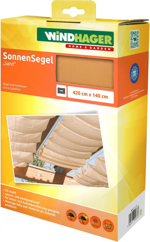 Windhager Seilspann-Markise 420 x 140 cm sand
