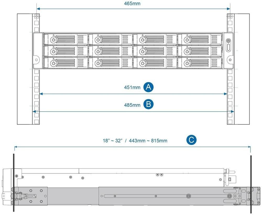 QNAP Rack-Schienen-Kit 2HE (RAIL-B02)