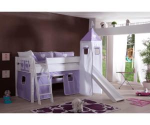 relita kim halbhohes bett mit rutsche und turm wei ab 419 99 preisvergleich bei. Black Bedroom Furniture Sets. Home Design Ideas