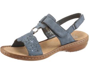 Rieker Damen 60843 Offene Sandalen mit Keilabsatz, Blau