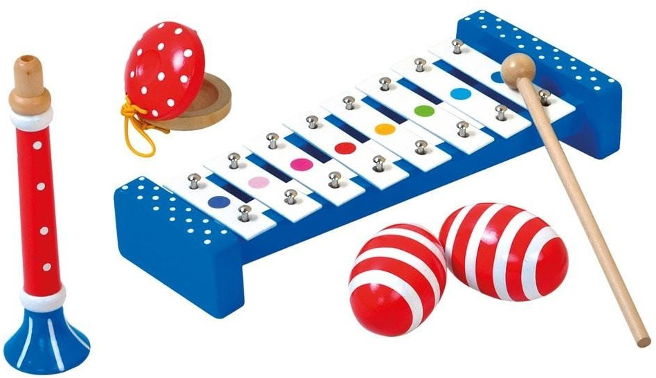 Holzspielzeug 8-teiliges Musik Set Kinder Instrument Musikset Xylophon Trommel Rassel Lernen