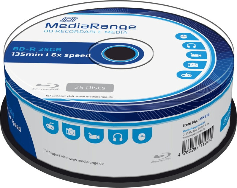 Image of MediaRange BD-R 25GB 6x (MR514)