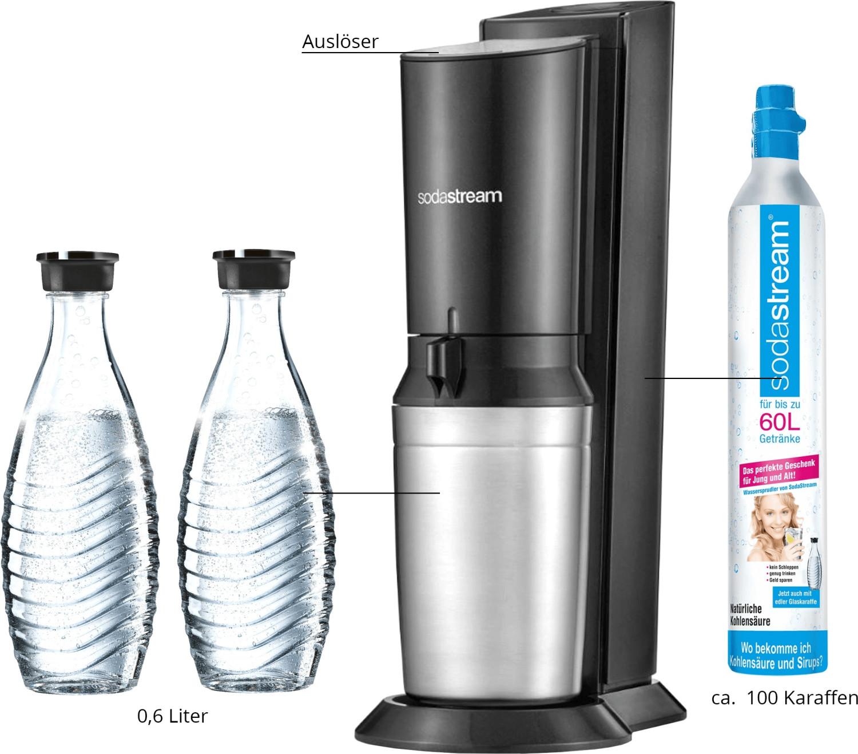 SodaStream Crystal 2.0 titan mit 2 Glaskaraffen & Zylinder