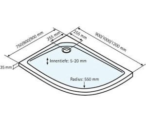 Schulte Duschwanne extra-flach asymmetrisch 120 x 90 cm (D20025 ... | {Duschwanne flach 120 x 90 73}