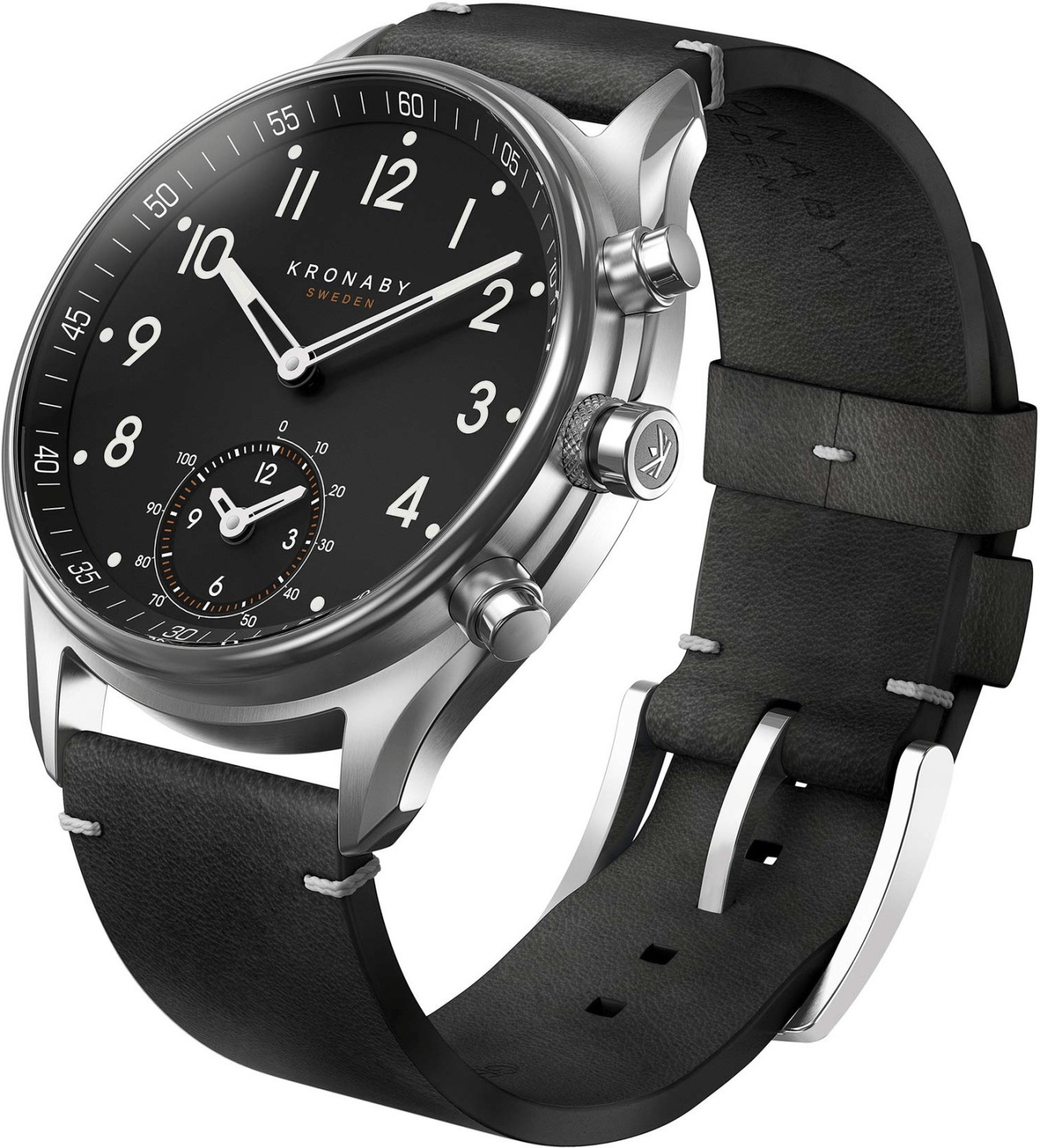 Image of Kronaby Apex silver - black Leather Strap