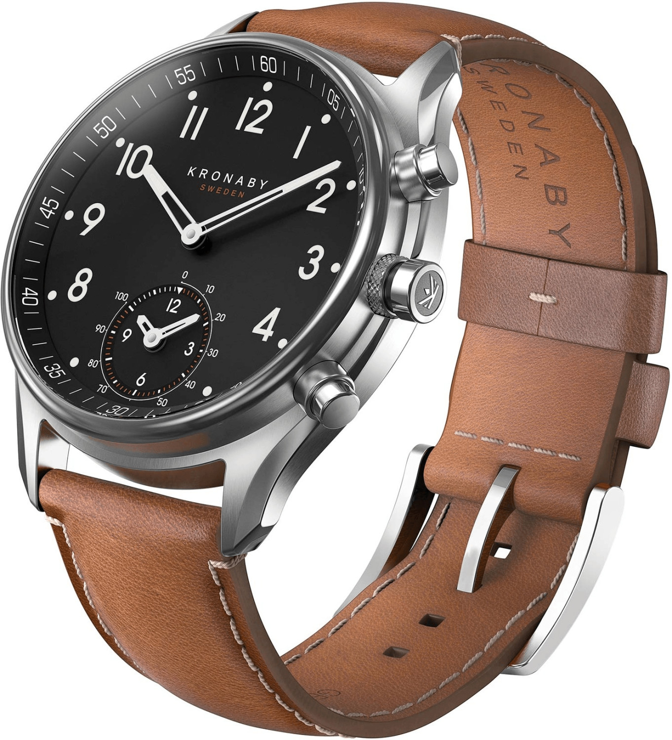 Image of Kronaby Apex silver - brown Leather Strap