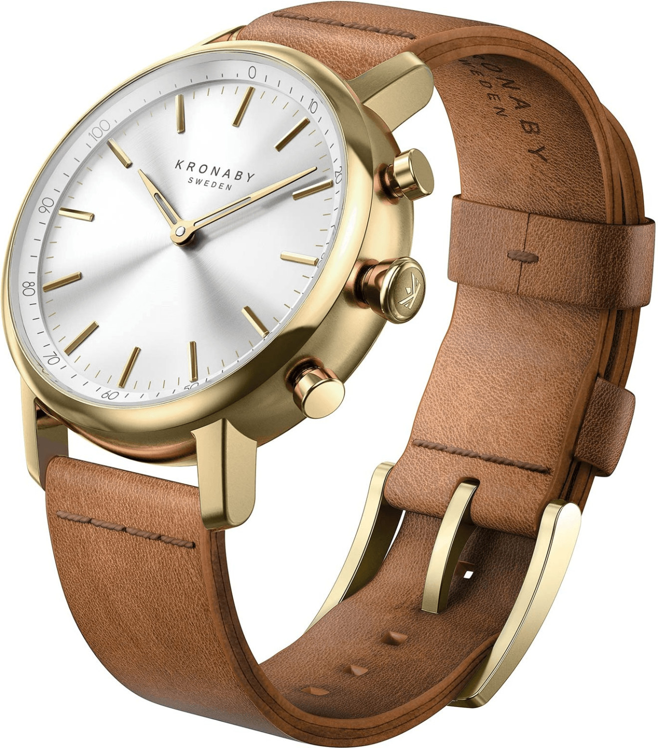 Image of Kronaby Carat silver - brown Leather Strap