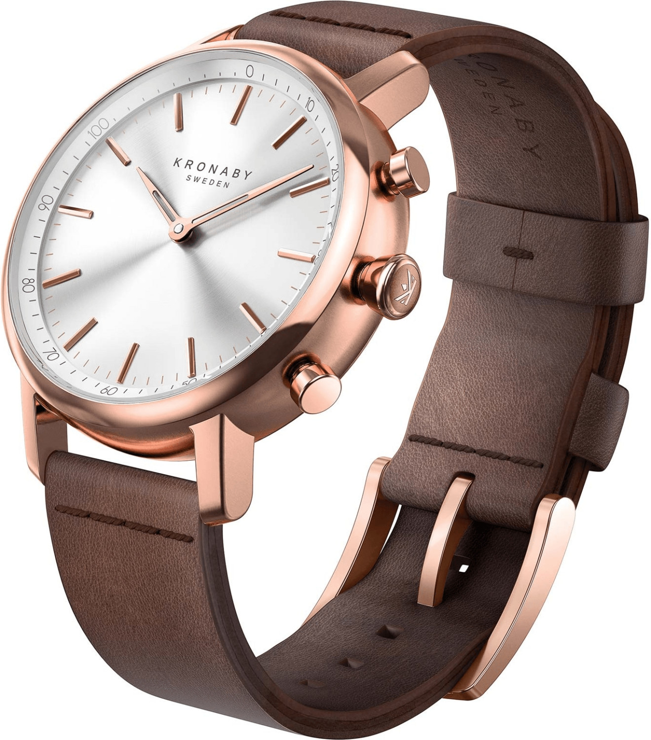 Image of Kronaby Carat silver - dark brown Leather Strap