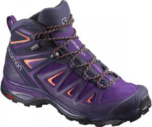 Salomon X Ultra 3 Mid Gtx® Blau-Lila/Violett, Damen Gore-Tex® Hiking- & Approach-Schuh, Größe EU 39 1/3 - Farbe Acai-Evening Blue-Living Coral %SALE 20% Damen Gore-Tex® Hiking- & Approach-Schuh, Acai