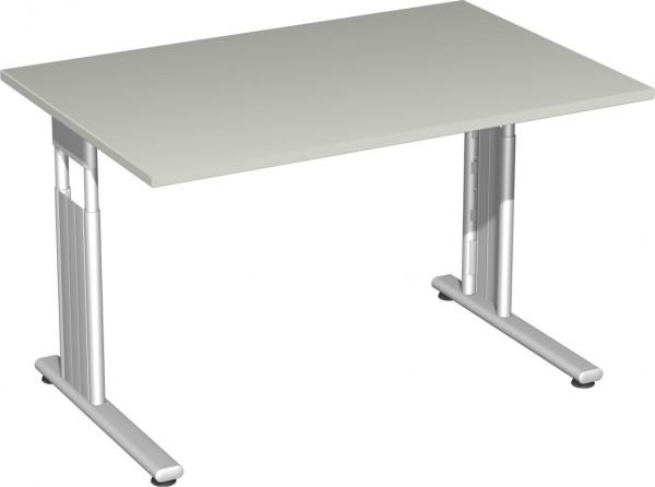 Schreibtische Schreibtisch, BxTxH 1200x800x680-820 mm, höhenverstellbar, Platte lichtgrau, C-Fuß-Gestell silber