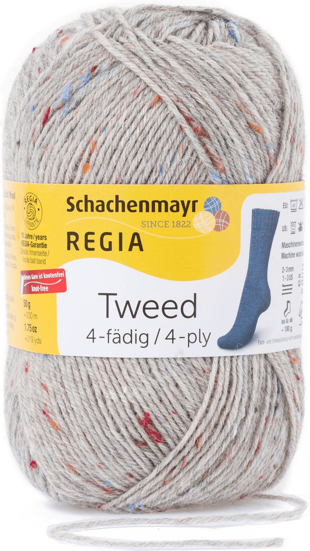 Regia 4-fädig Tweed hellgrau (00090)