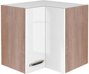 Flex-Well Küchen-Eckhängeschrank Valero 60 cm weiß Hochglanz/Sonoma ...