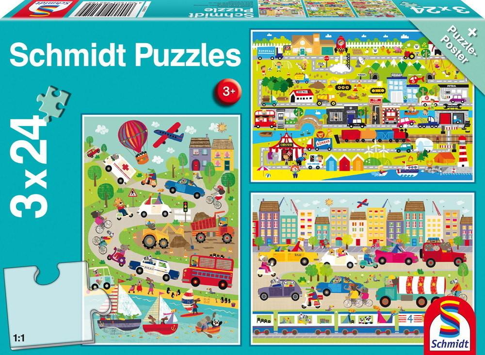 3 x 24 Teile Puzzle Spiel Deutsch 2017 Bunte Welt der Fahrzeuge Puzzles & Geduldspiele