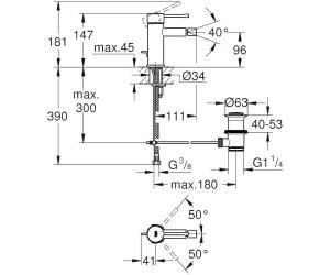 GROHE Einhand-Bidetbatterie Essence32935 nickel gebürstet