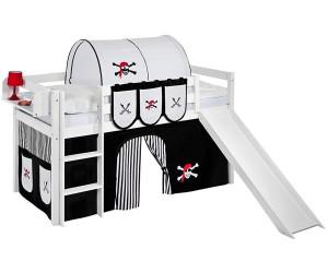 Etagenbett Jelle : Lilokids spielbett jelle mit rutsche und vorhang pirat schwarz weiß