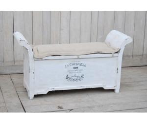 Kobolo Sitzbank Vintage Aus Holz Wei 223 Mit Auflage 0861512