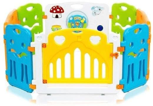 Baby Vivo Laufgitter aus Kunststoff mit Tür weiß gelb