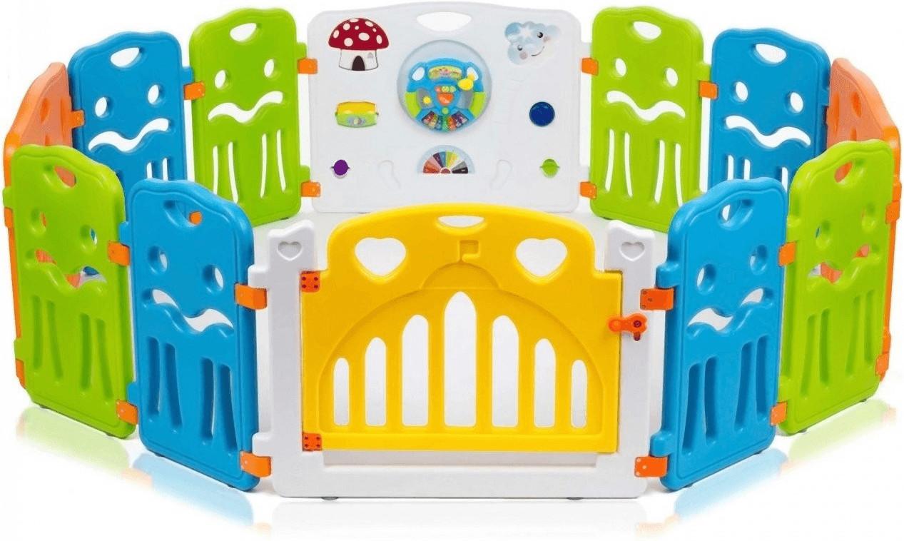 Baby Vivo Laufgitter aus Kunststoff mit Tür XL weiß gelb