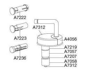 Steckscharnier Pressalit B 16 D43P999