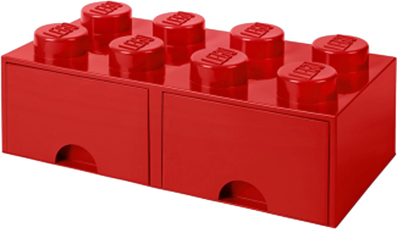 LEGO Aufbewahrungsstein 8 Noppen und 2 Schubladen - rot