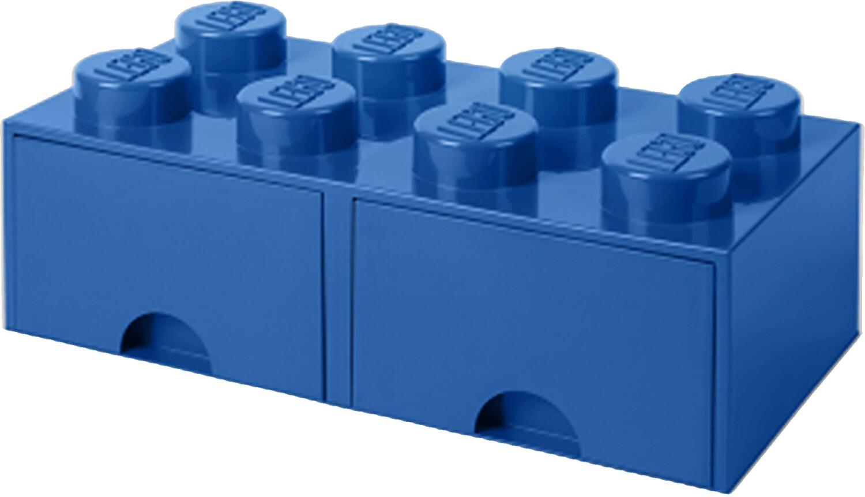 LEGO Aufbewahrungsstein 8 Noppen und 2 Schubladen - blau