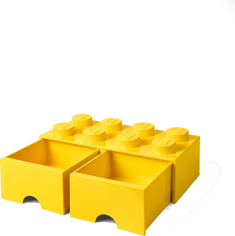 LEGO Aufbewahrungsstein 8 Noppen und 2 Schubladen - gelb