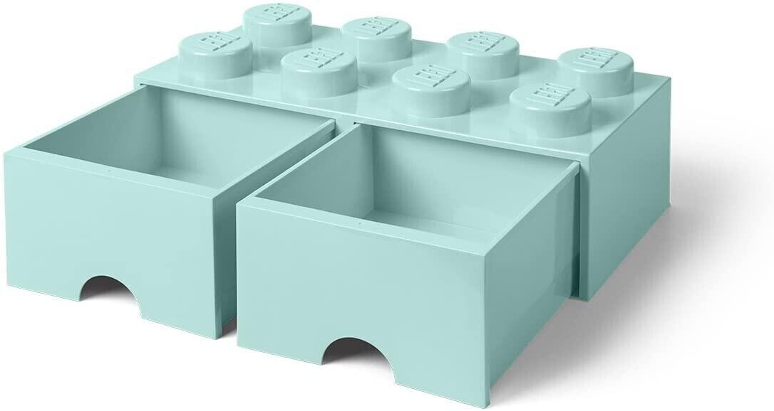 LEGO Aufbewahrungsstein 8 Noppen und 2 Schubladen - aqua
