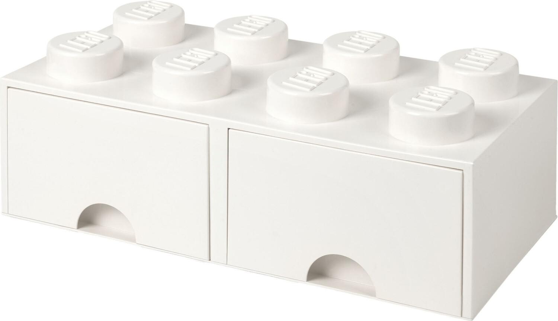 LEGO Aufbewahrungsstein 8 Noppen und 2 Schubladen - weiß
