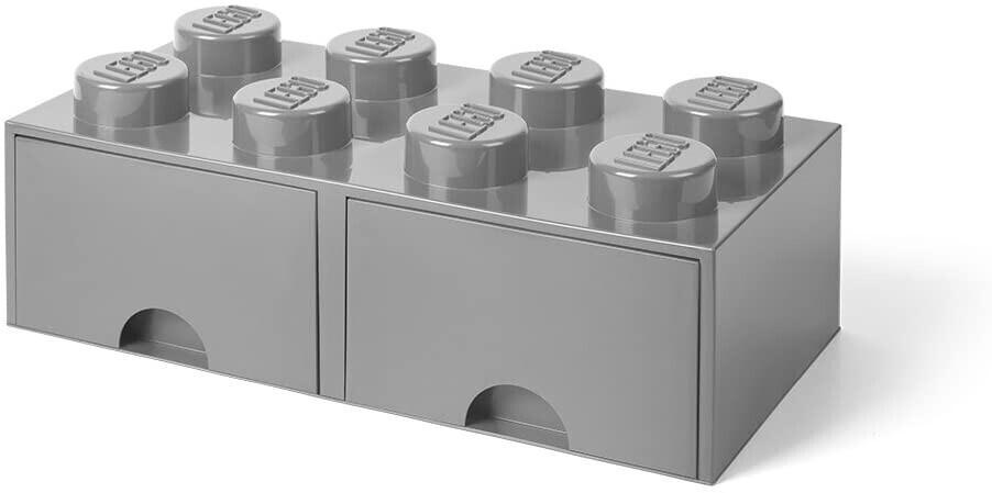 LEGO Aufbewahrungsstein 8 Noppen und 2 Schubladen - grau