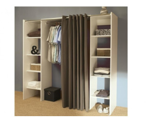 symbiosis dressing extensible 2 colonnes blanc rideau taupe au meilleur prix sur. Black Bedroom Furniture Sets. Home Design Ideas