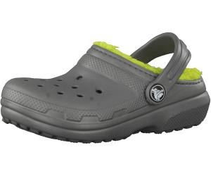 crocs Classic Lined Clog Kids, Unisex - Kinder Clogs, Grau (Slate Grey/Volt Green), 33/34 EU