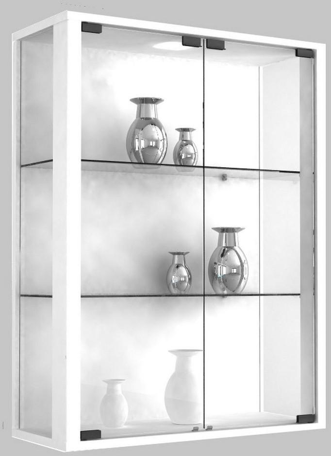 VCM Udina Glasvitrine ohne Beleuchtung weiß | Wohnzimmer > Vitrinen > Glasvitrinen | Weiß | Glas