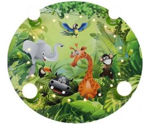 Kinderlampe Deckenleuchte aus Holz mit wilden Tieren A++ Wildnis Dschungel