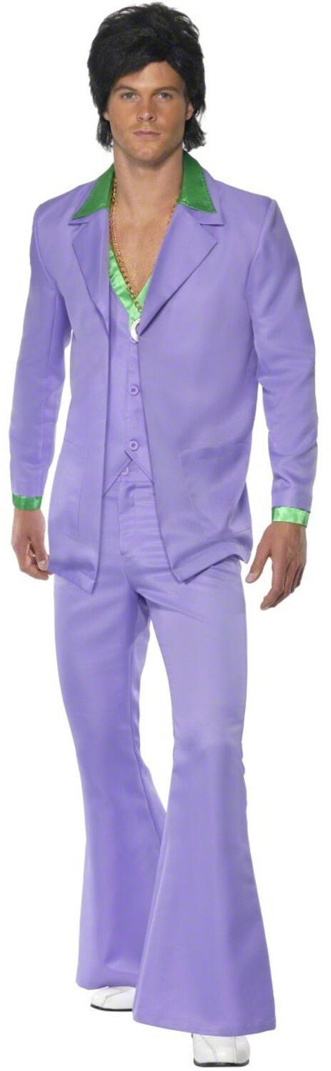 Smiffy's 70er Jahre Disco Anzug fliederfarben L