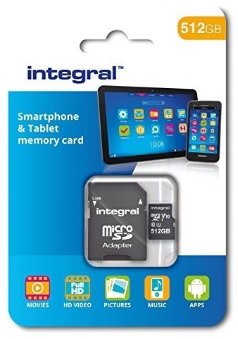 Integral 512 gb Micro Sd, Microsdxc, Memory Card For Smartphones and Tablets, U3