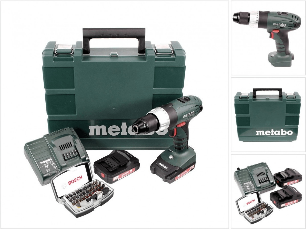 Metabo SB 18  (2 x 2,0 Ah + Ladegerät + Bit-Set) im Koffer | Baumarkt > Werkzeug > Werkzeug-Sets