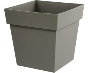 eda plastiques pot carr toscane 38l taupe au meilleur prix sur. Black Bedroom Furniture Sets. Home Design Ideas