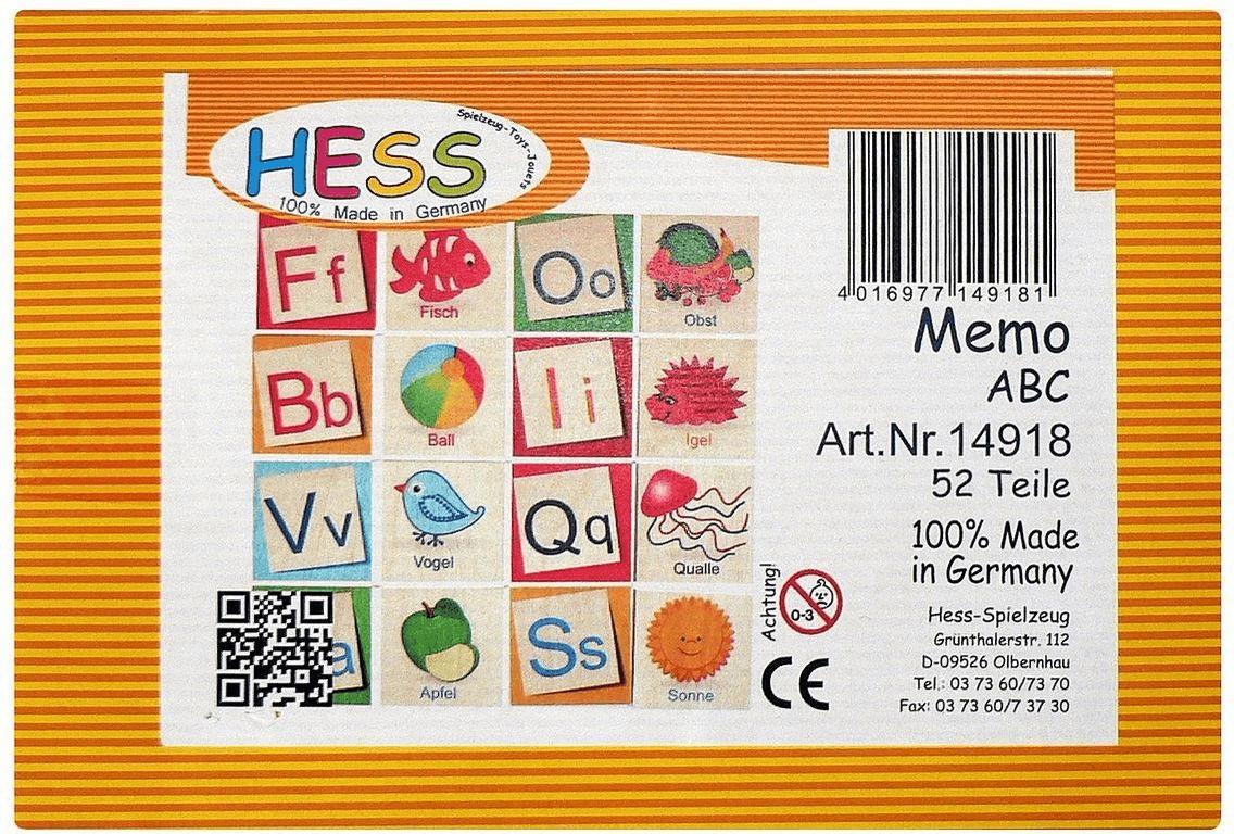 Hess Buchstabenmemo ABC (german)