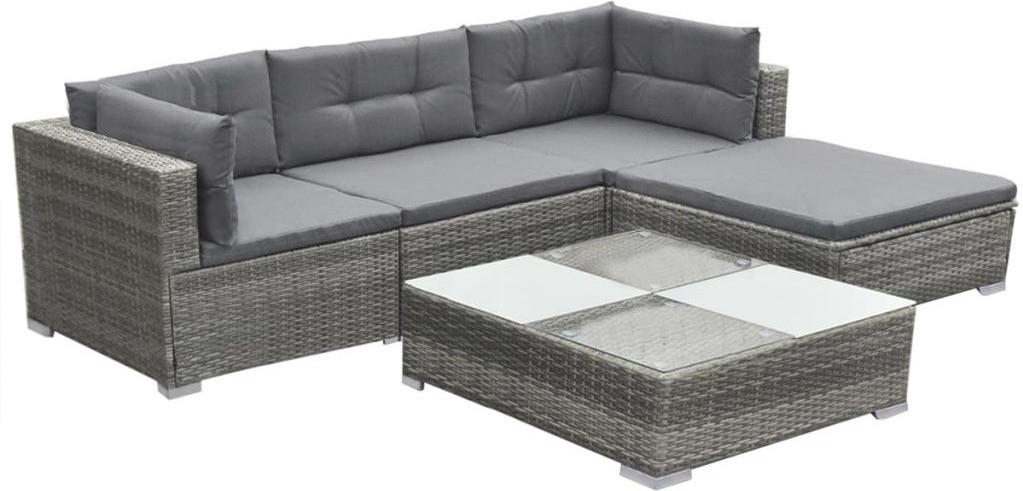 vidaXL Set divano da giardino in Polyrattan grigio (42735)
