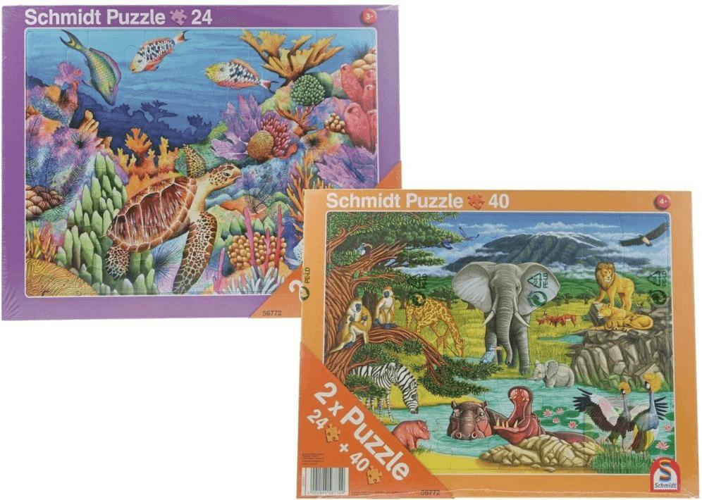 Schmidt-Spiele 2er-Set Tiere Meer/Afrika (24 & ...