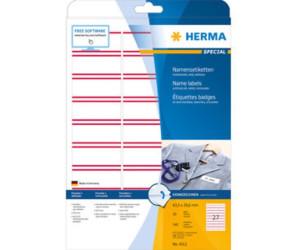 63,5 x 29,6 mm ablösbar weiß rote Streifen, Herma SPECIAL Namensetiketten A4