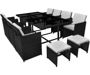 vidaxl essgruppe schwarz poly rattan 33 tlg 42524 ab 502 99 preisvergleich bei. Black Bedroom Furniture Sets. Home Design Ideas
